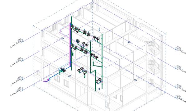 Снимок экрана BIM модели в разрезе, с инженерными коммуникациями