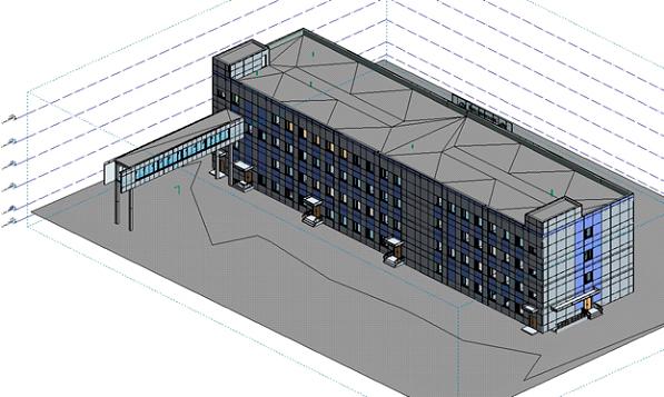 Снимок экрана БИМ-модели здания, где видны материалы стен и показана условная земля