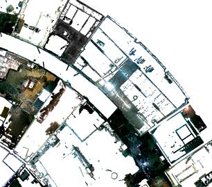 Снимок экрана из облака точек: горизонтальное сечение здания с плотной нарезкой помещений