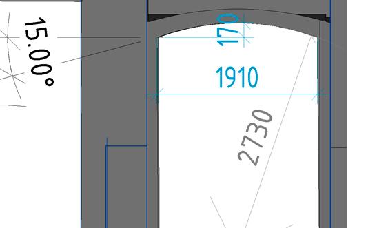 Снимок экрана из облака точек с арочным проемом или сводом, с проставленными размерами: линейные, угловые, радиусные и длина дуги