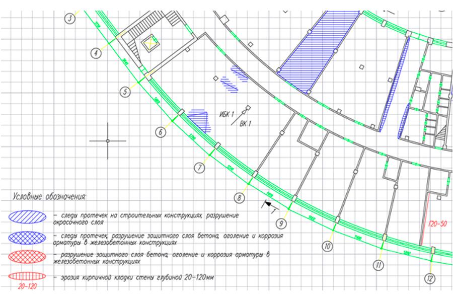 План в AutoCAD с выделенной зоной: аварийный участок (снимок экрана)