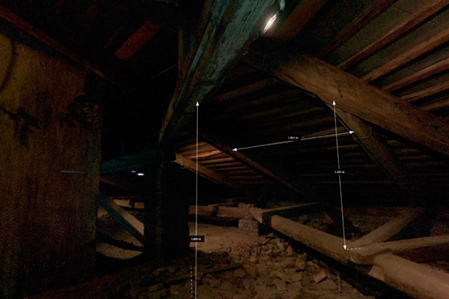 Сложный для измерения элемент: арка, сводчатый потолок (снимок экрана)